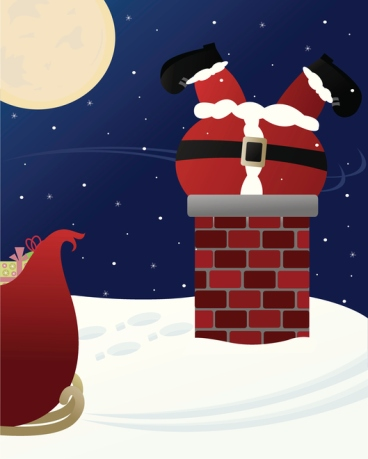 Santa Claus Stuck in a Chimney!
